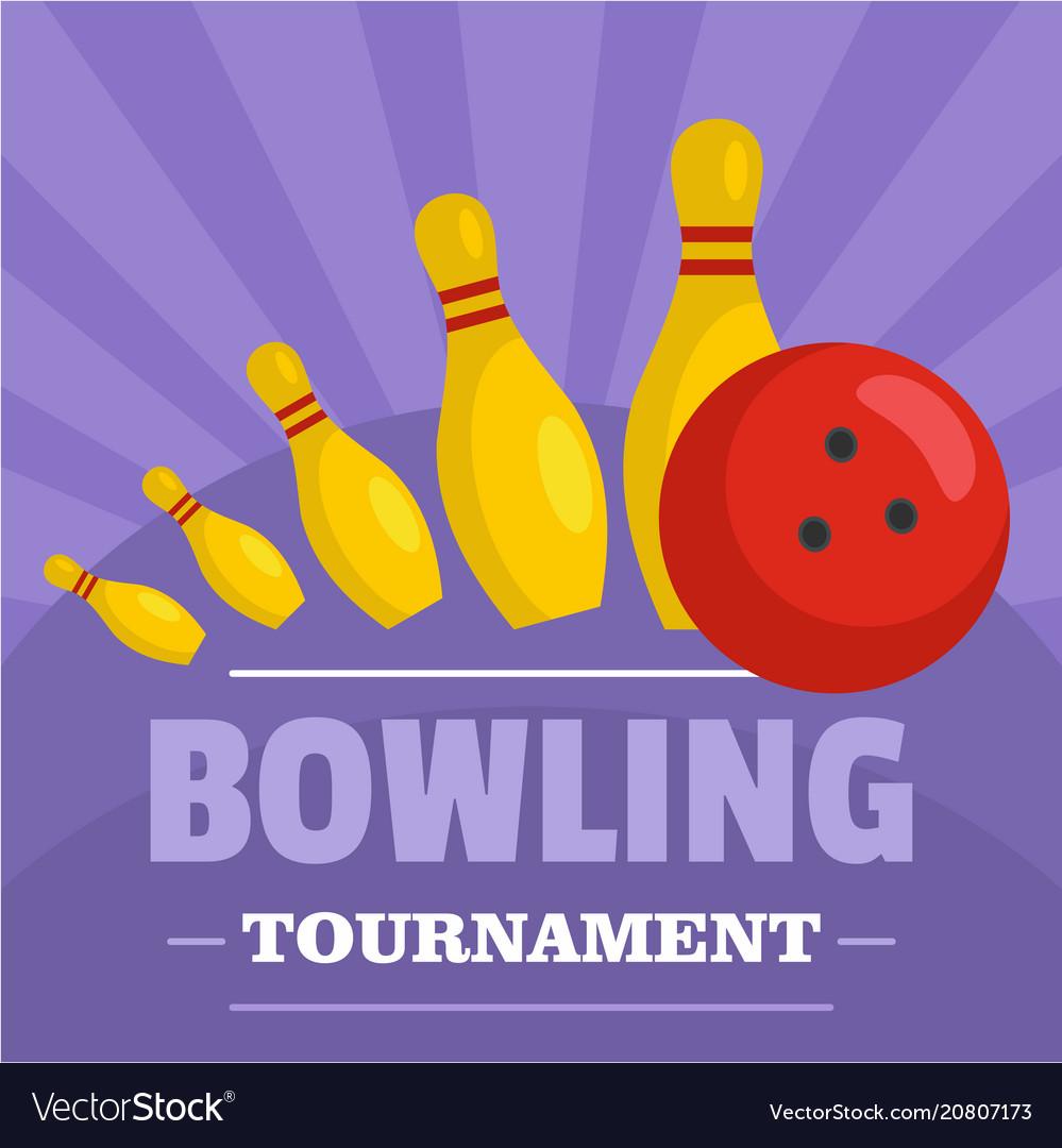 Bowling tournament icon flat style
