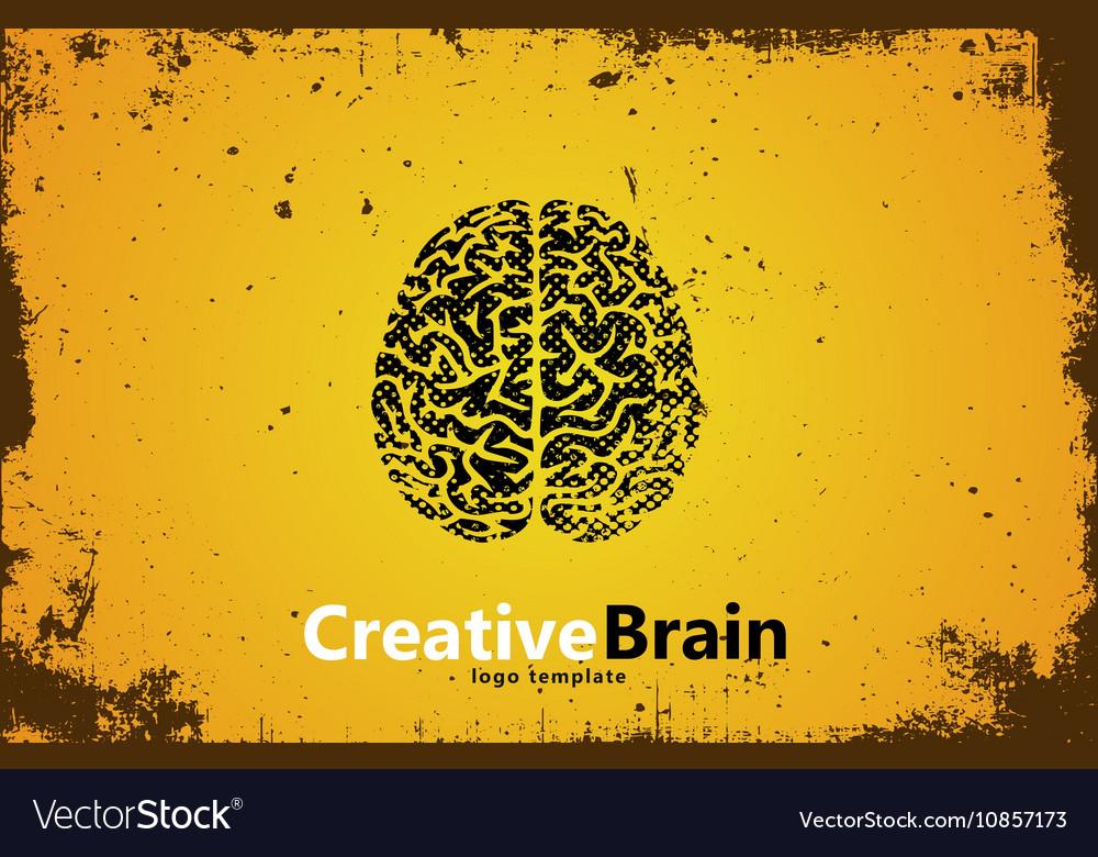 Brain logo design Creative brain Grunge style
