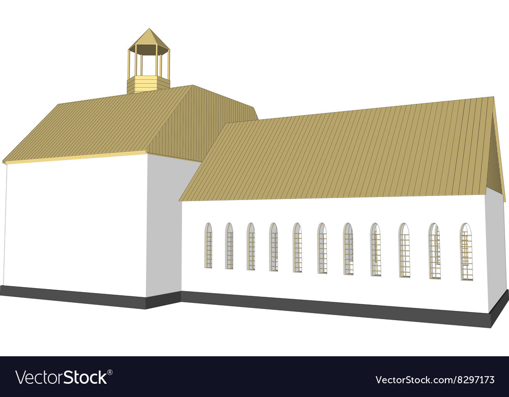 Building 3d Church on white background