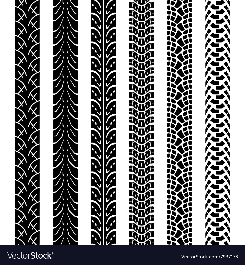 Collection Motorcycle Tire Tracks Royalty Free Vector Image