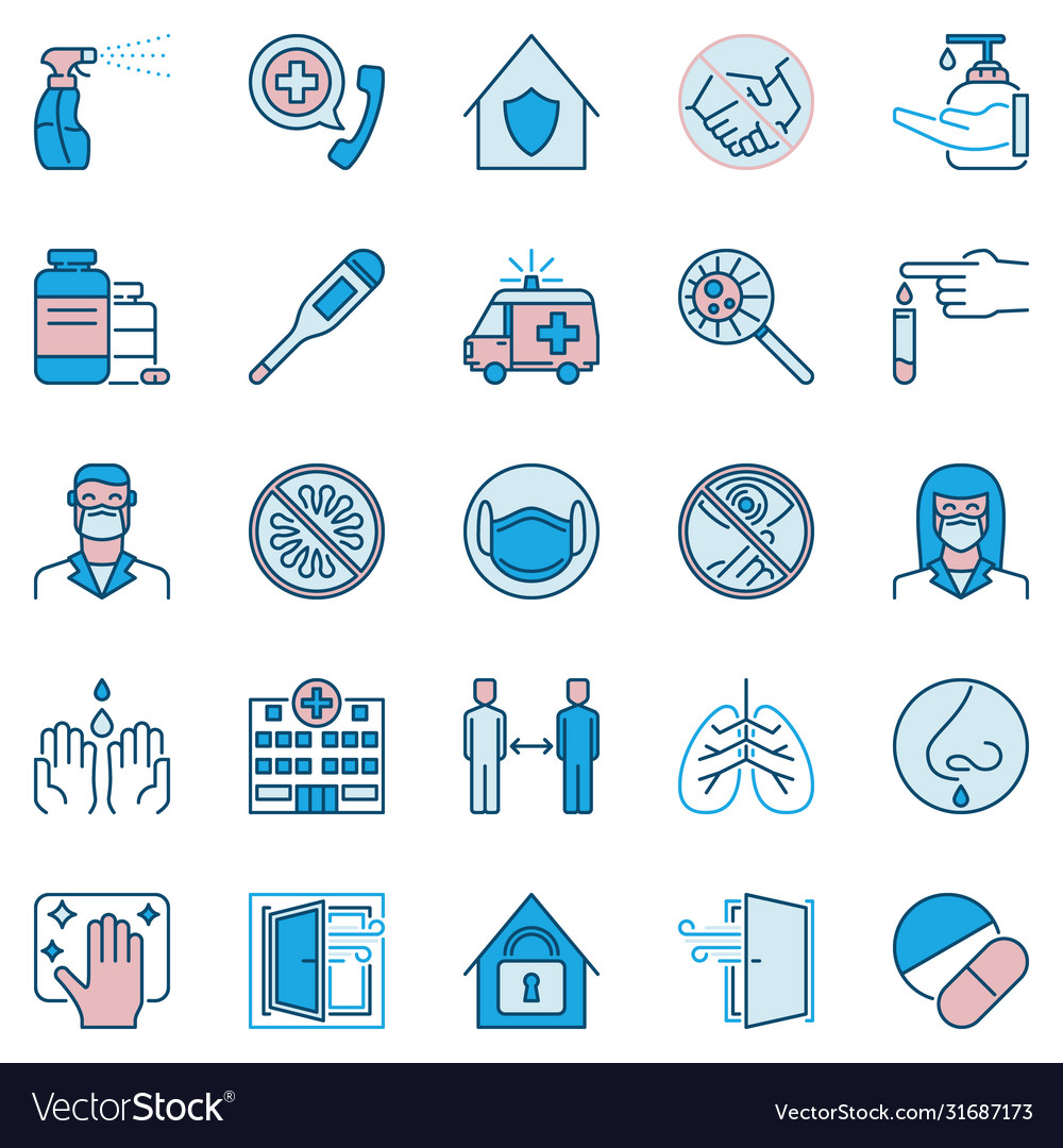 Coronavirus virus prevention icons set or design