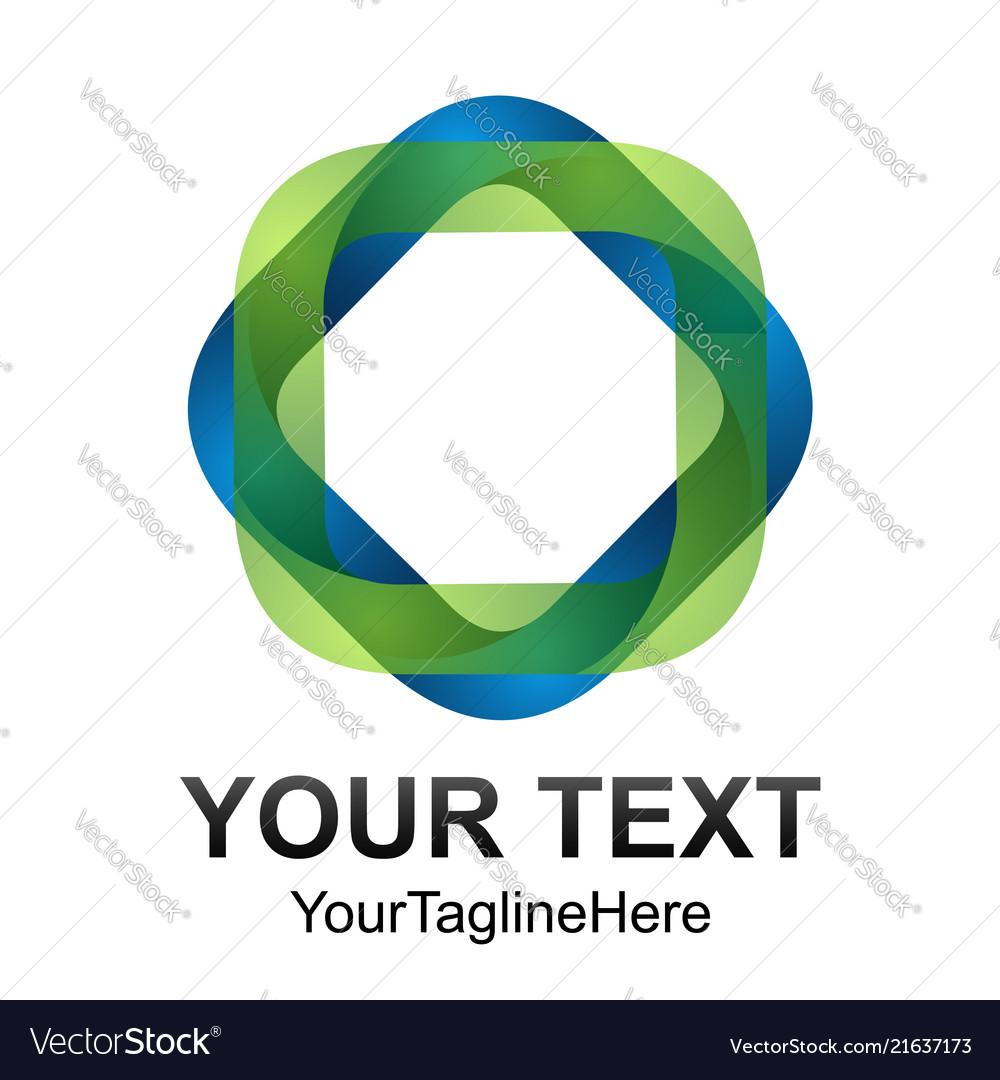 Creative abstract square ribbon logo design