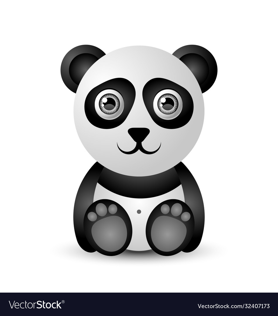 Cute and funny panda character isolated on white