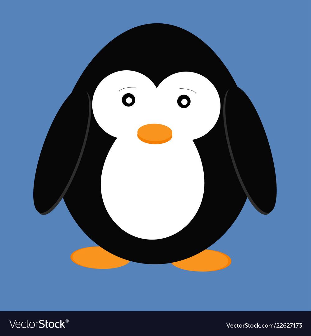 Cute cartoon penguin isolated on blue background