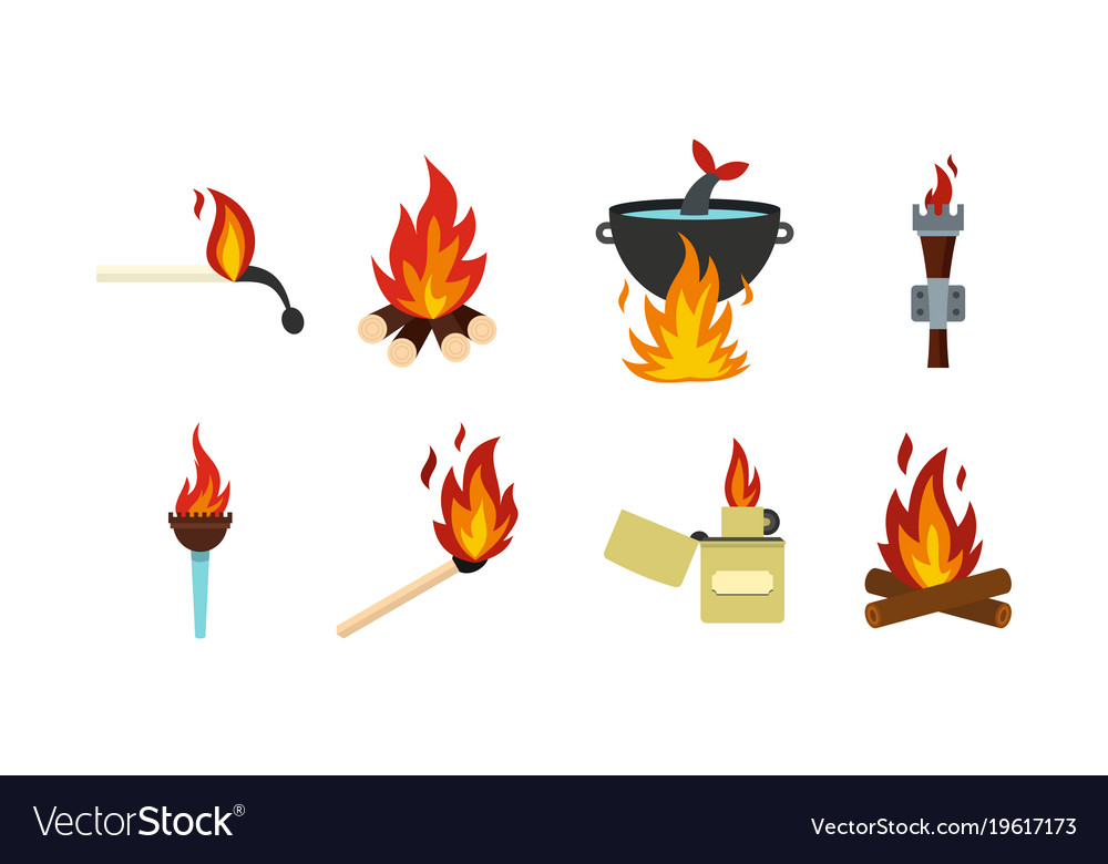 Fire icon set flat style