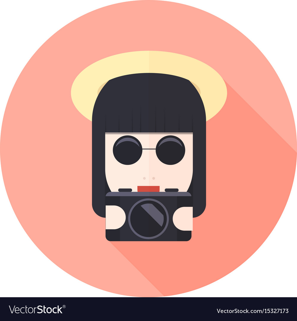 Girl with glasses and photo camera character