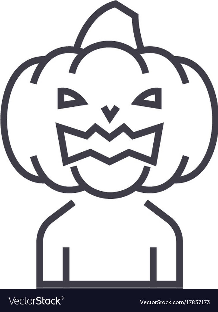 Horror pumpkin line icon sig