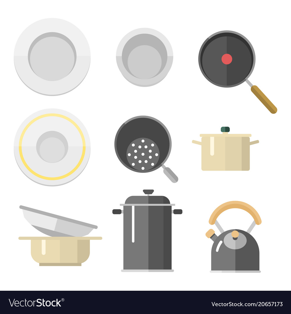 Kitchen dishes flat icons isolated