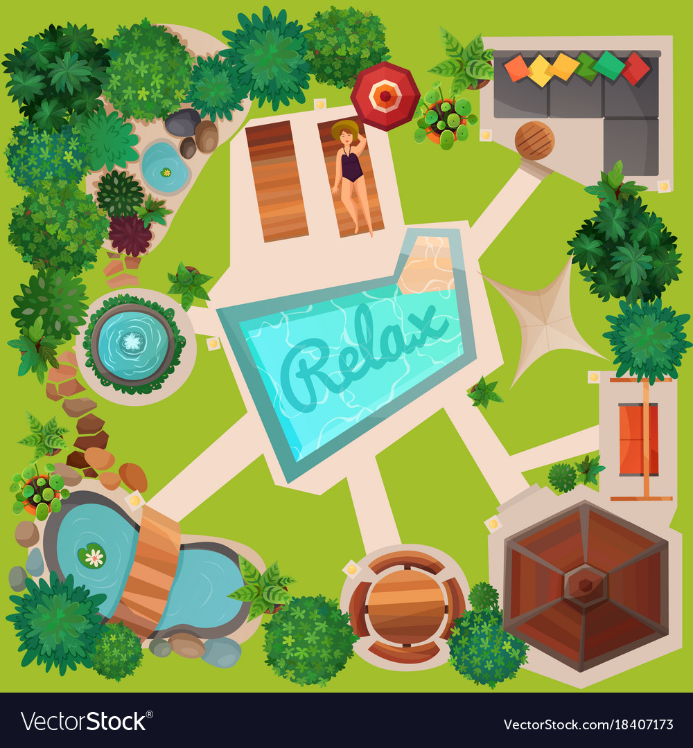 Landscape design top view Royalty Free Vector Image