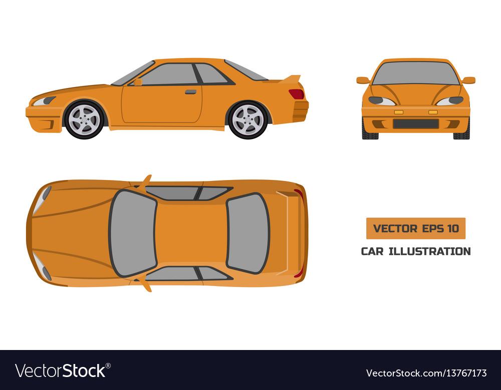 Orange car on a white background