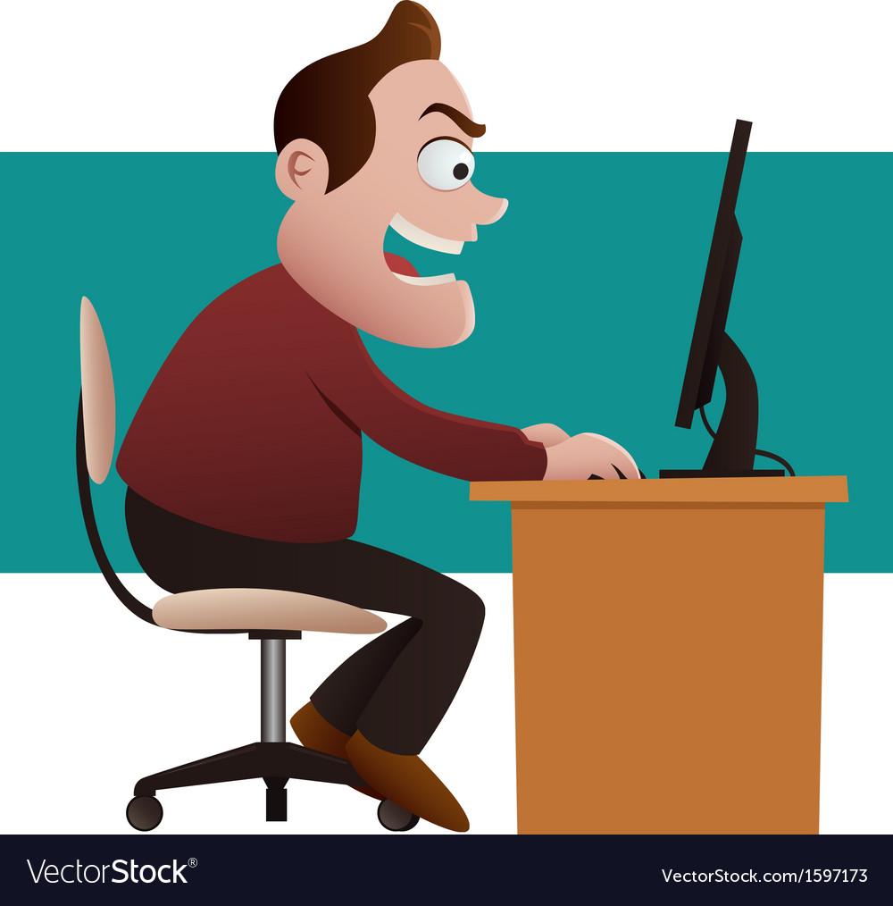 Shocked businessman looking at computer vector image