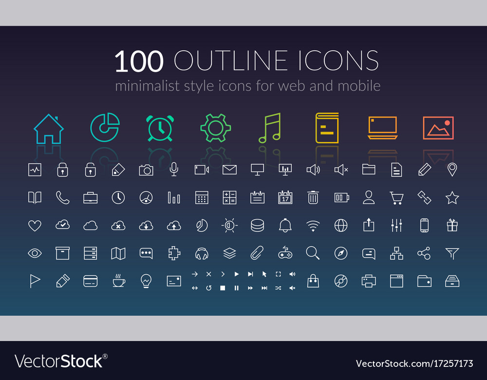Web outline icons set