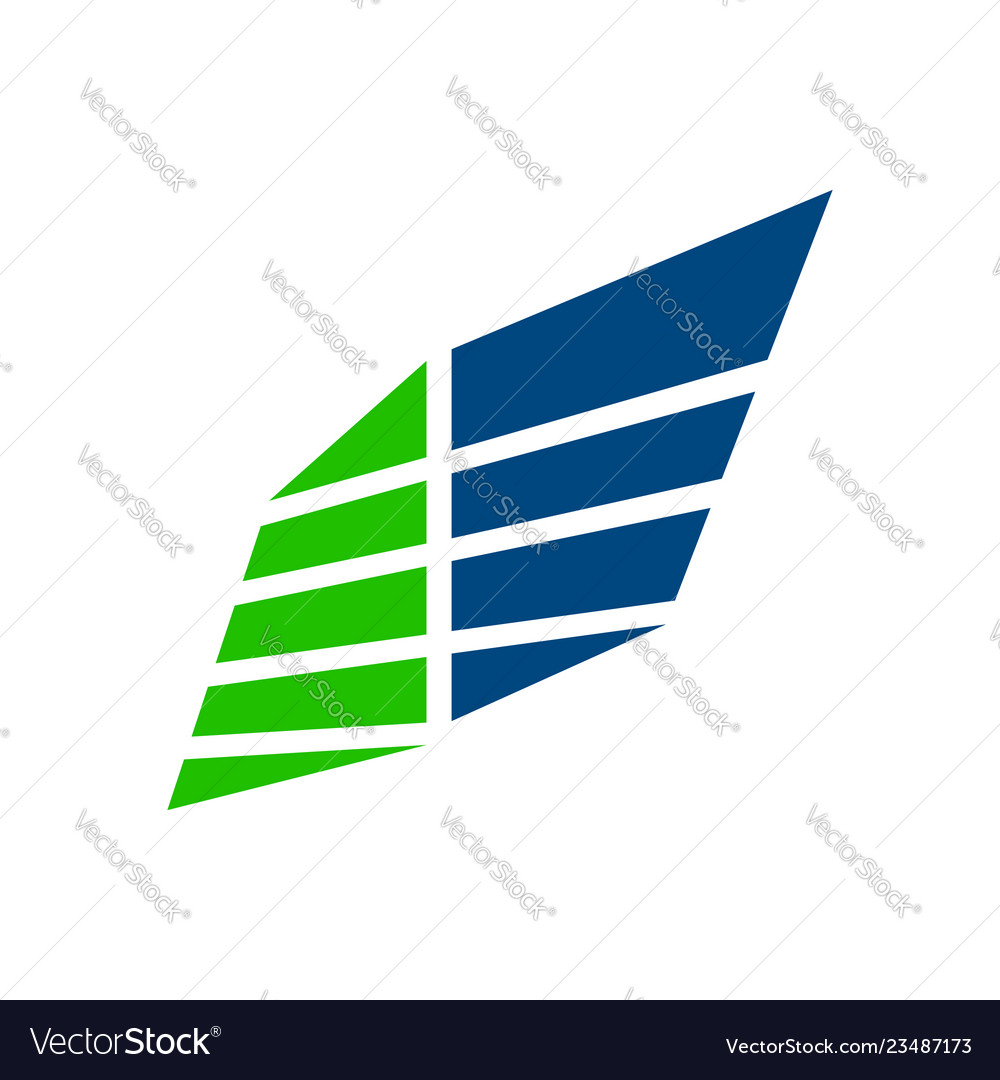 Wing panel block business blue green symbol