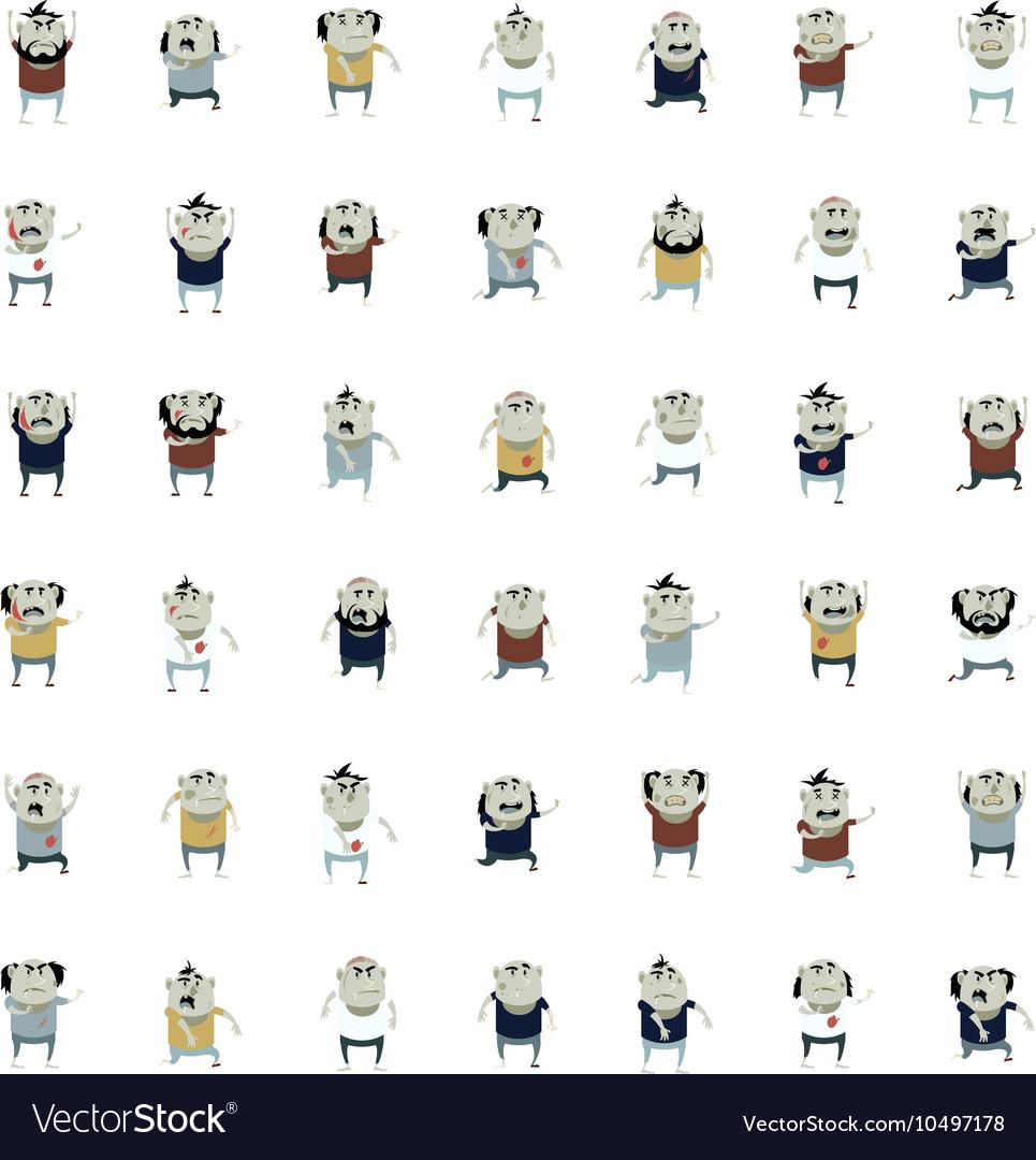 Big set of zombie icons vector image