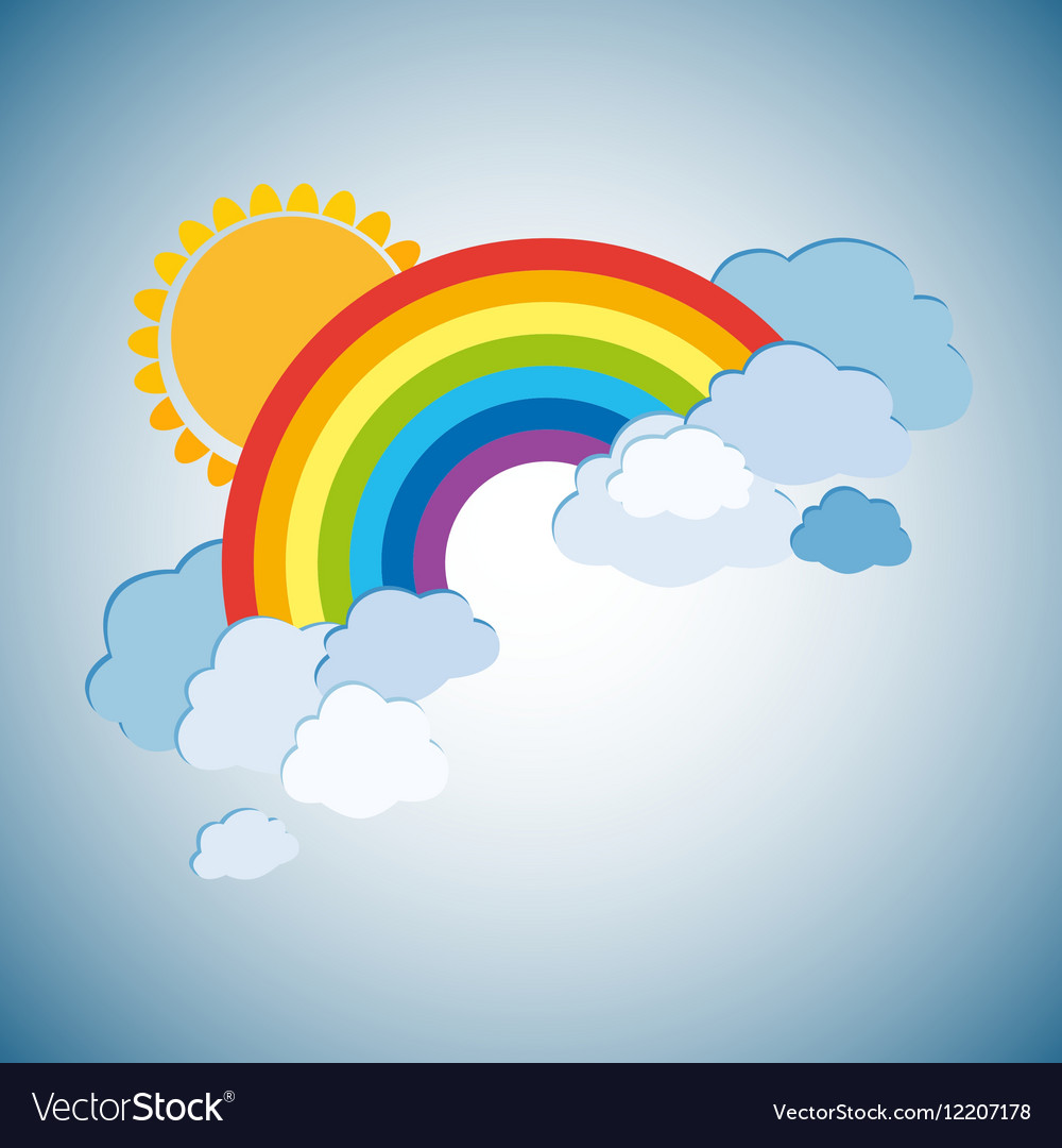 Colored rainbows with clouds and sun Cartoon
