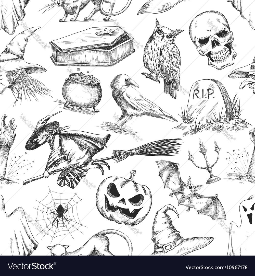 Halloween party symbols pencil sketch pattern