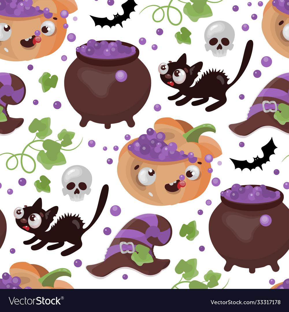 Halloween potion pumpkin flat design seamless