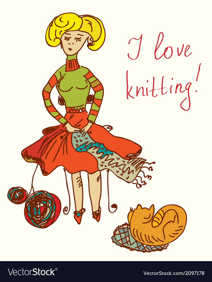 I Love Knitting Card With Funny Woman Royalty Free Vector