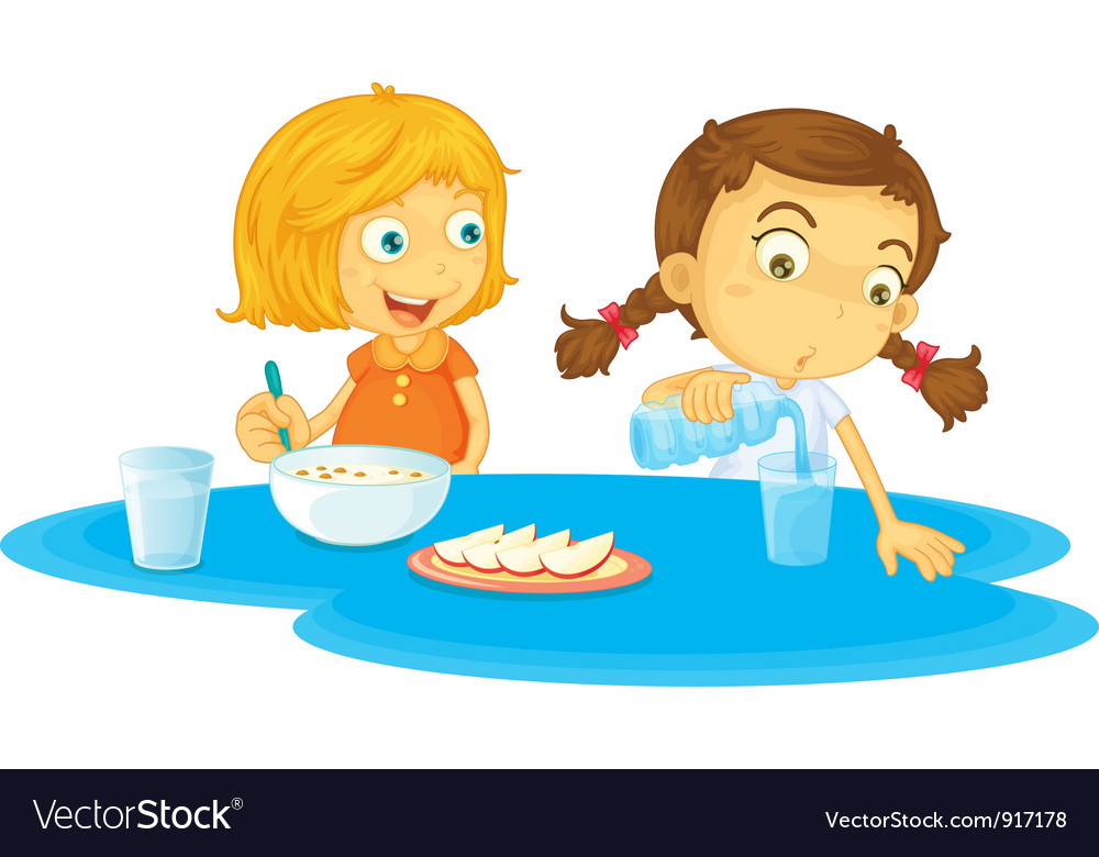 Kids having breakfast vector image