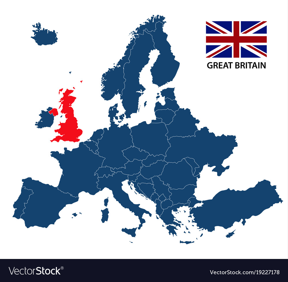 Map of europe with highlighted great britain