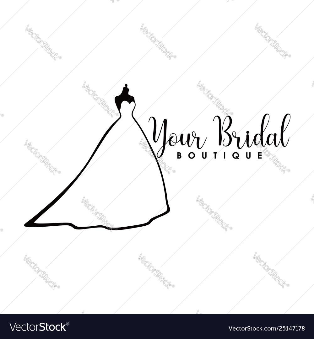Monochrome bridal boutique logo wedding dresses
