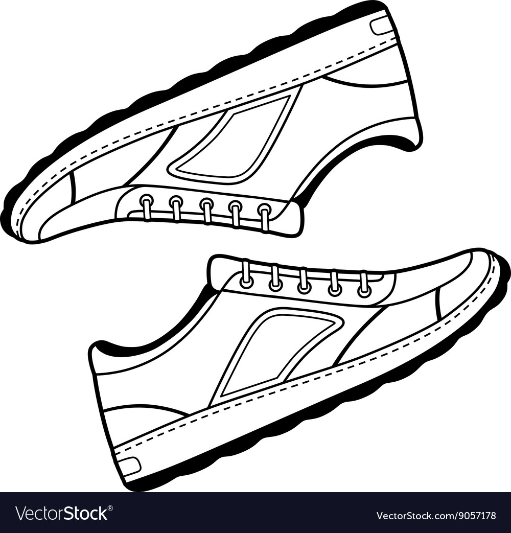 Pair unisex black outlined sneakers shoes vector image