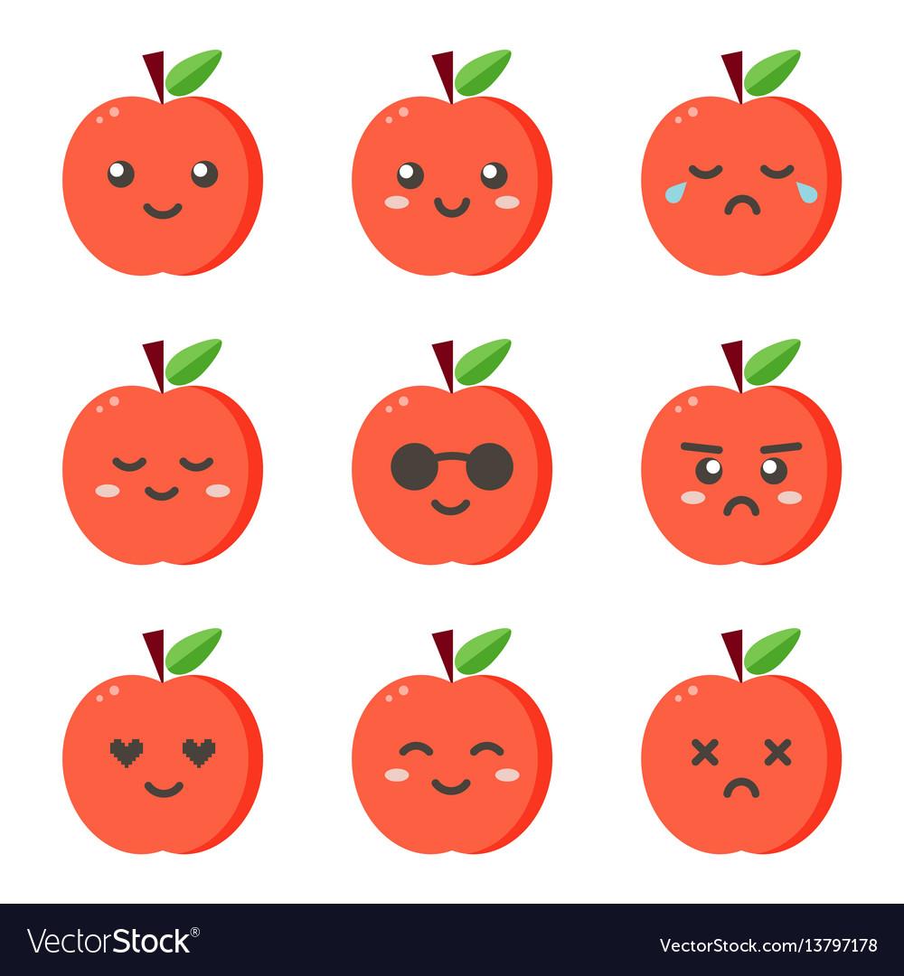 Set collection of flat design emoji red apples