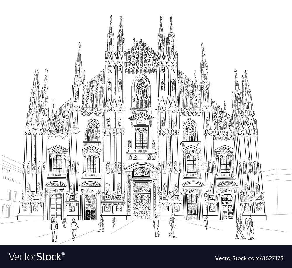 Sketch Milan Cathedral vector image