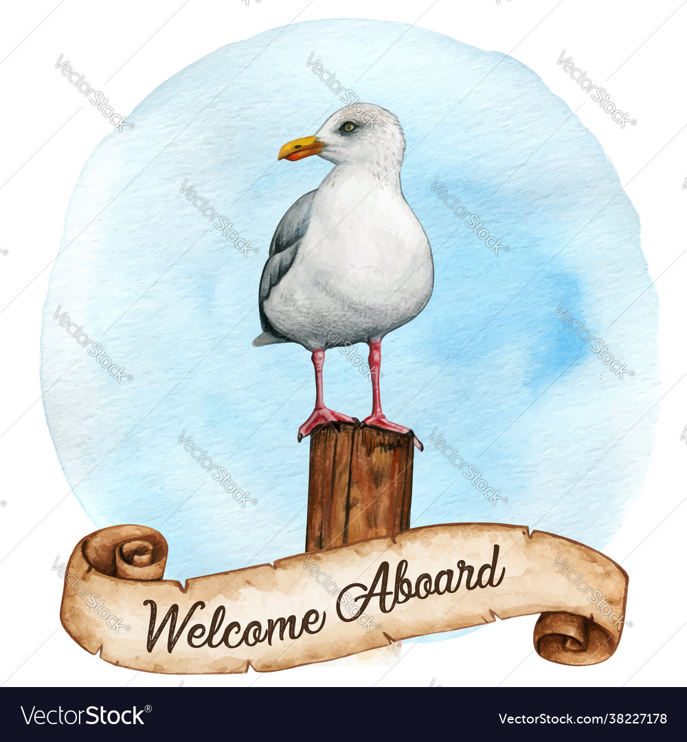 Watercolor seagull on a wooden mooring pole