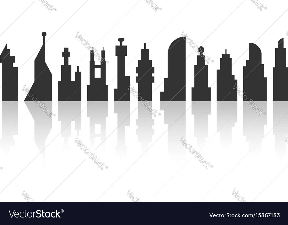 Black city landscape with shadow