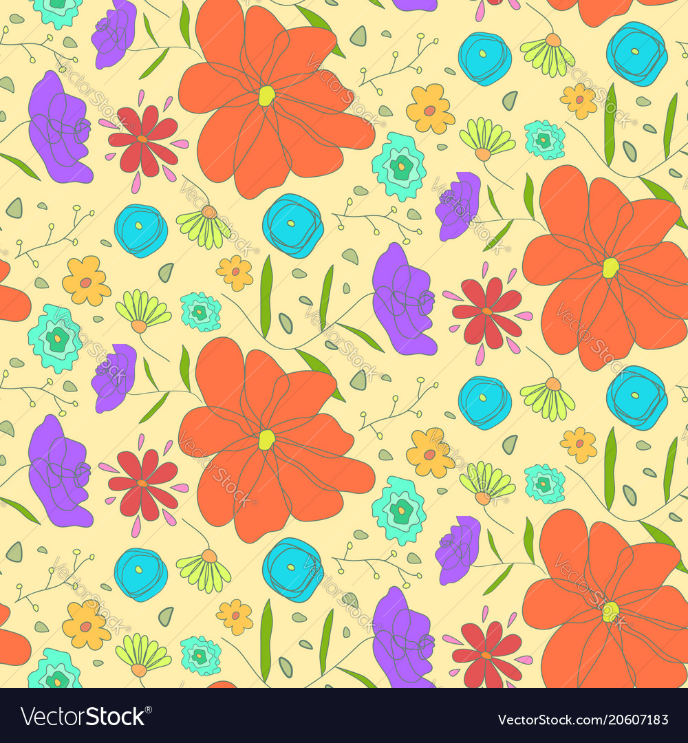 Bright warm pattern with sketch colorful flowers vector image