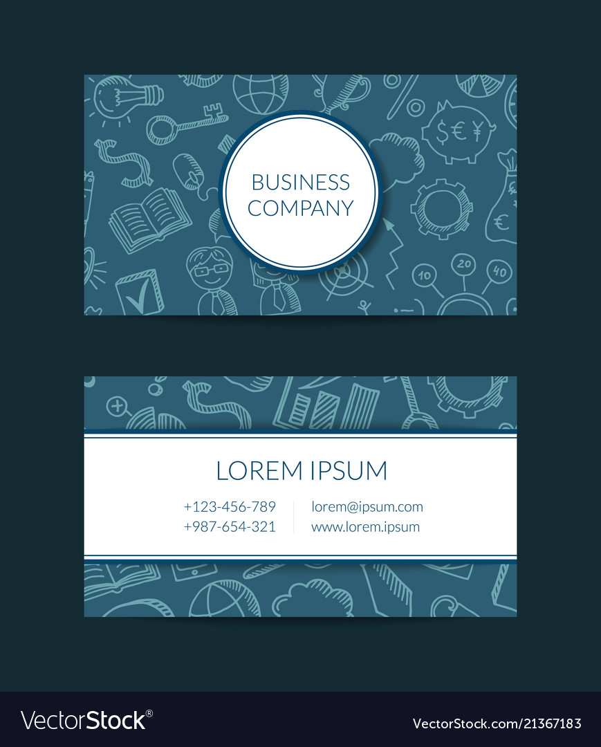 Business doodle icons business card