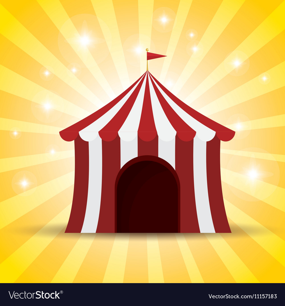Circus tent red and white shine background vector image