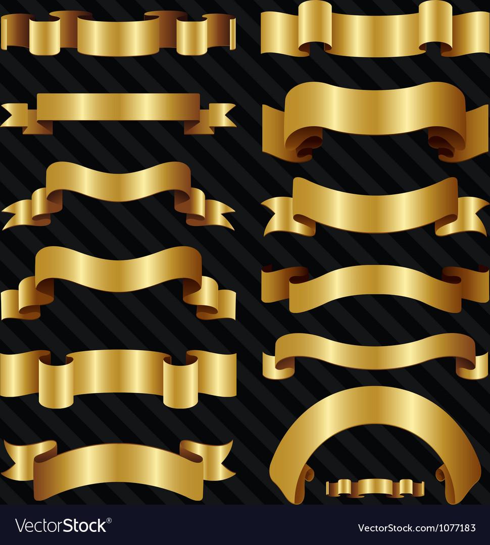 Decorative ornate gold ribbons vector image