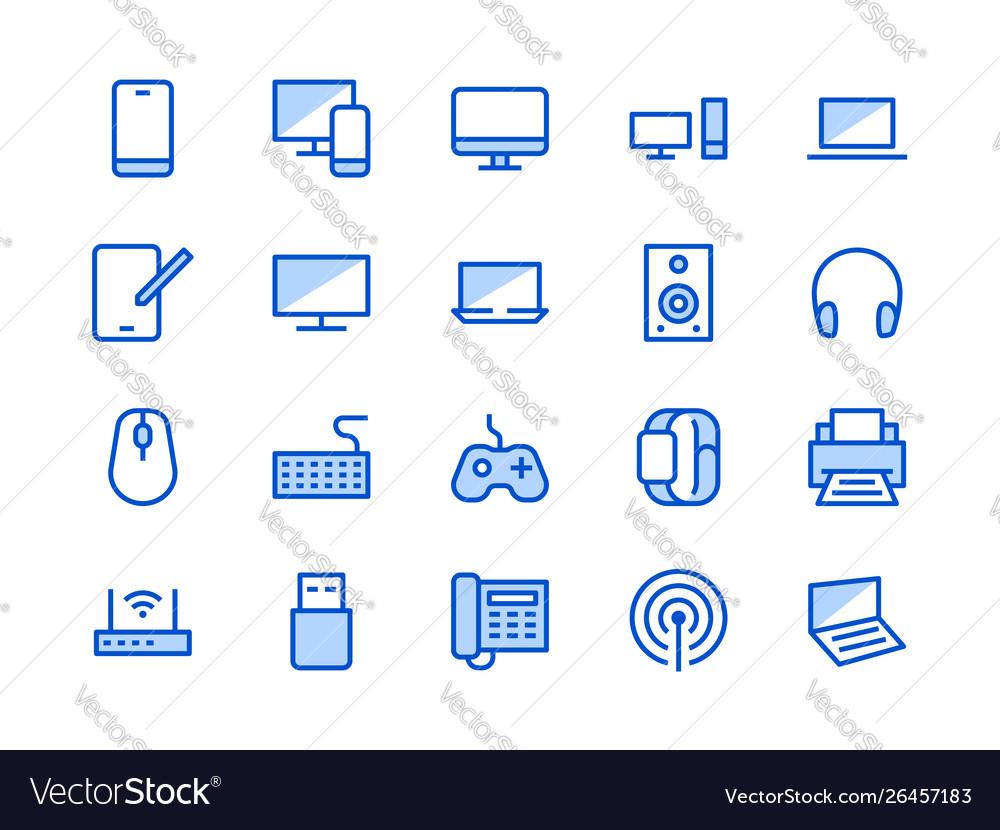 Electronics technology store blue line icon
