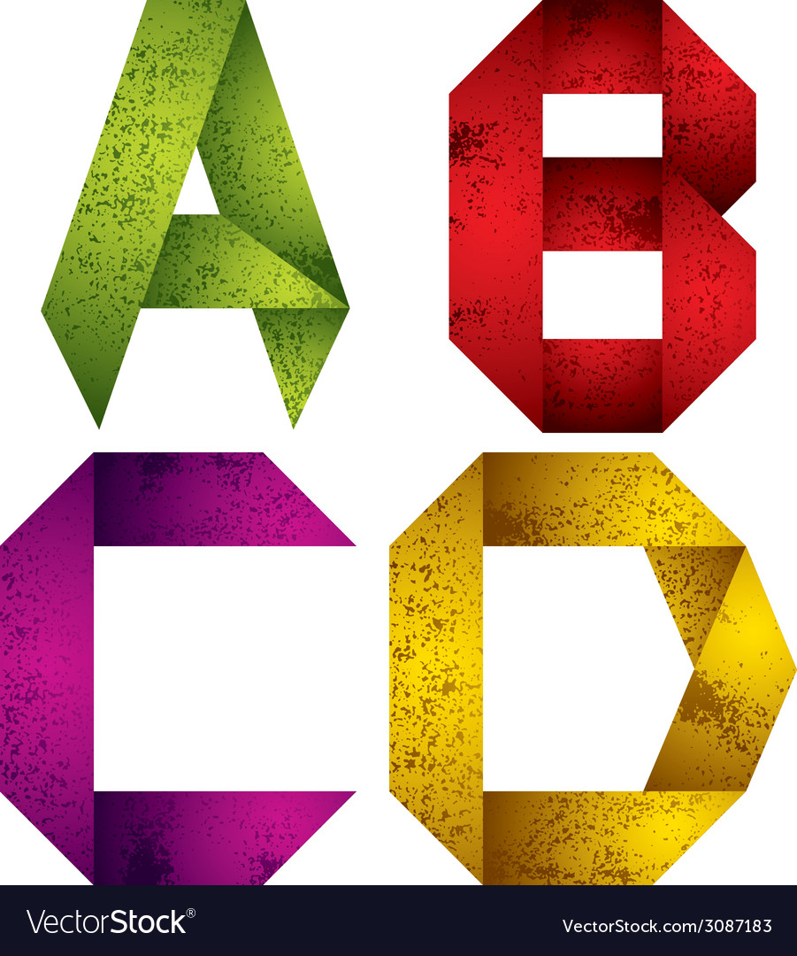 Origami Alphabet Letters A B C D Royalty Free Vector Image