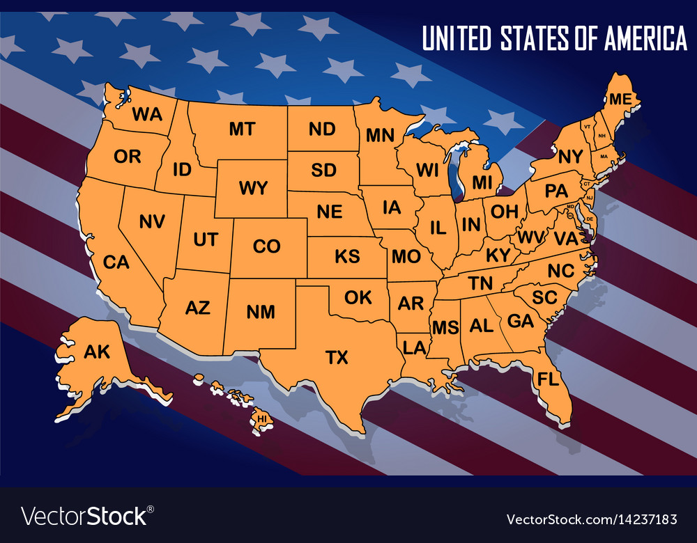 Poster map of united states of america with state
