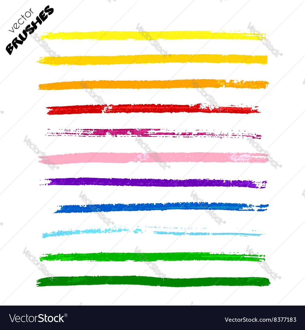 Set of colorful hand drawn paint lines vector image