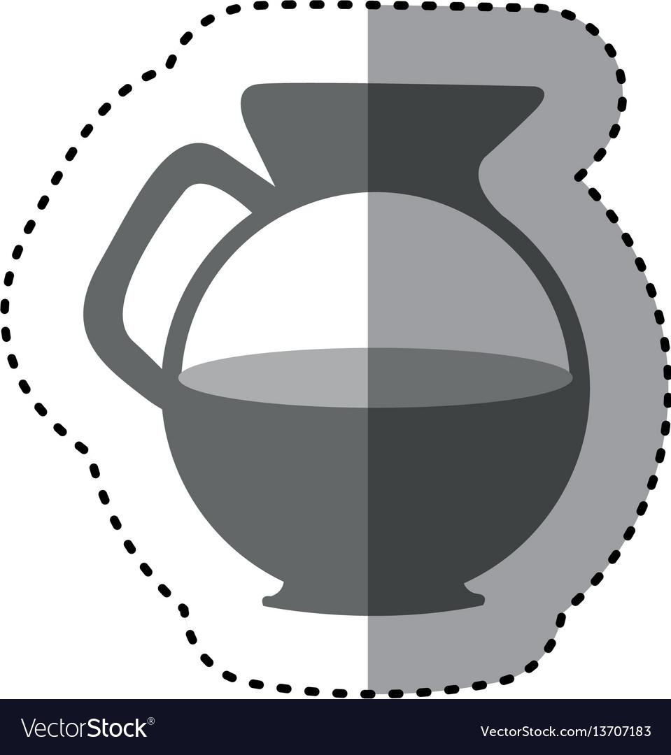 Sticker monochrome silhouette glass jar of coffee