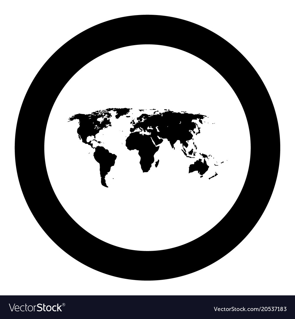 World map black icon in circle royalty free vector image world map black icon in circle vector image gumiabroncs Choice Image