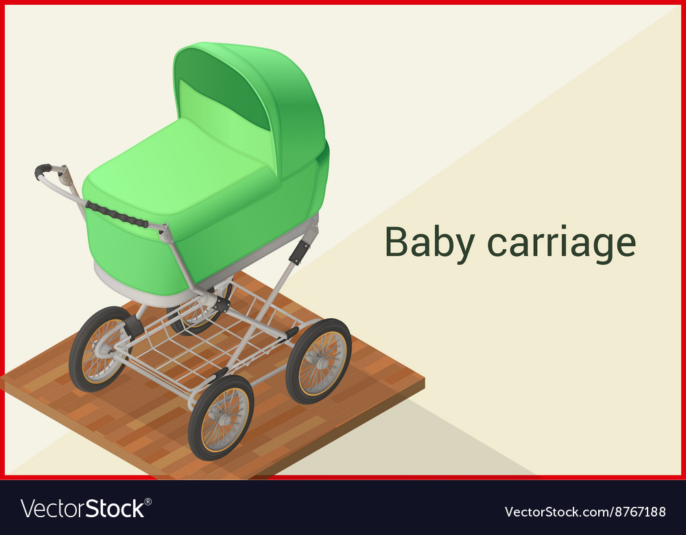 Baby carriage isometric flat
