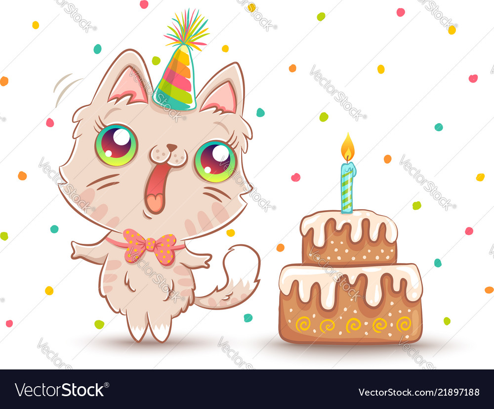 Strange Cat With Birthday Cake Royalty Free Vector Image Personalised Birthday Cards Paralily Jamesorg