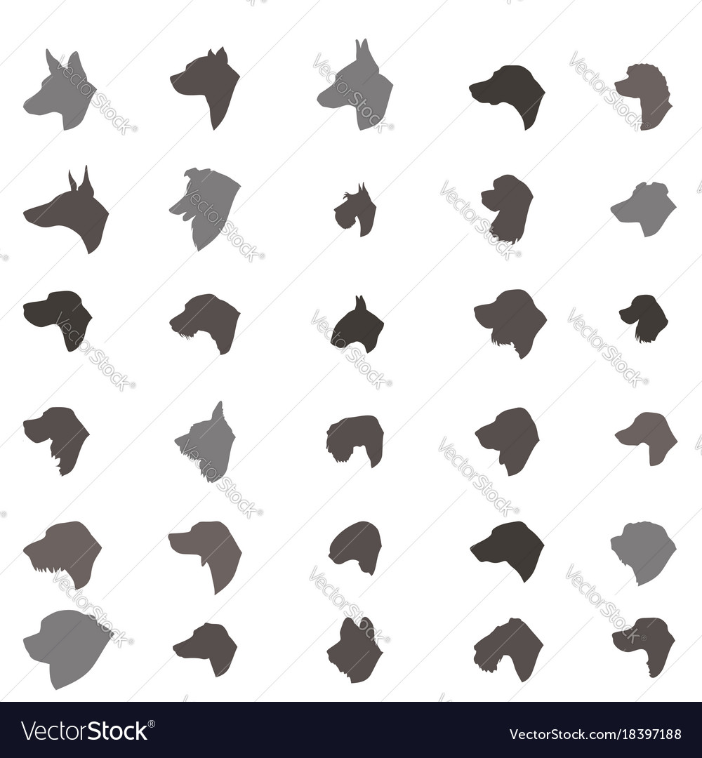 Dog head silhouette icon set different dos breed