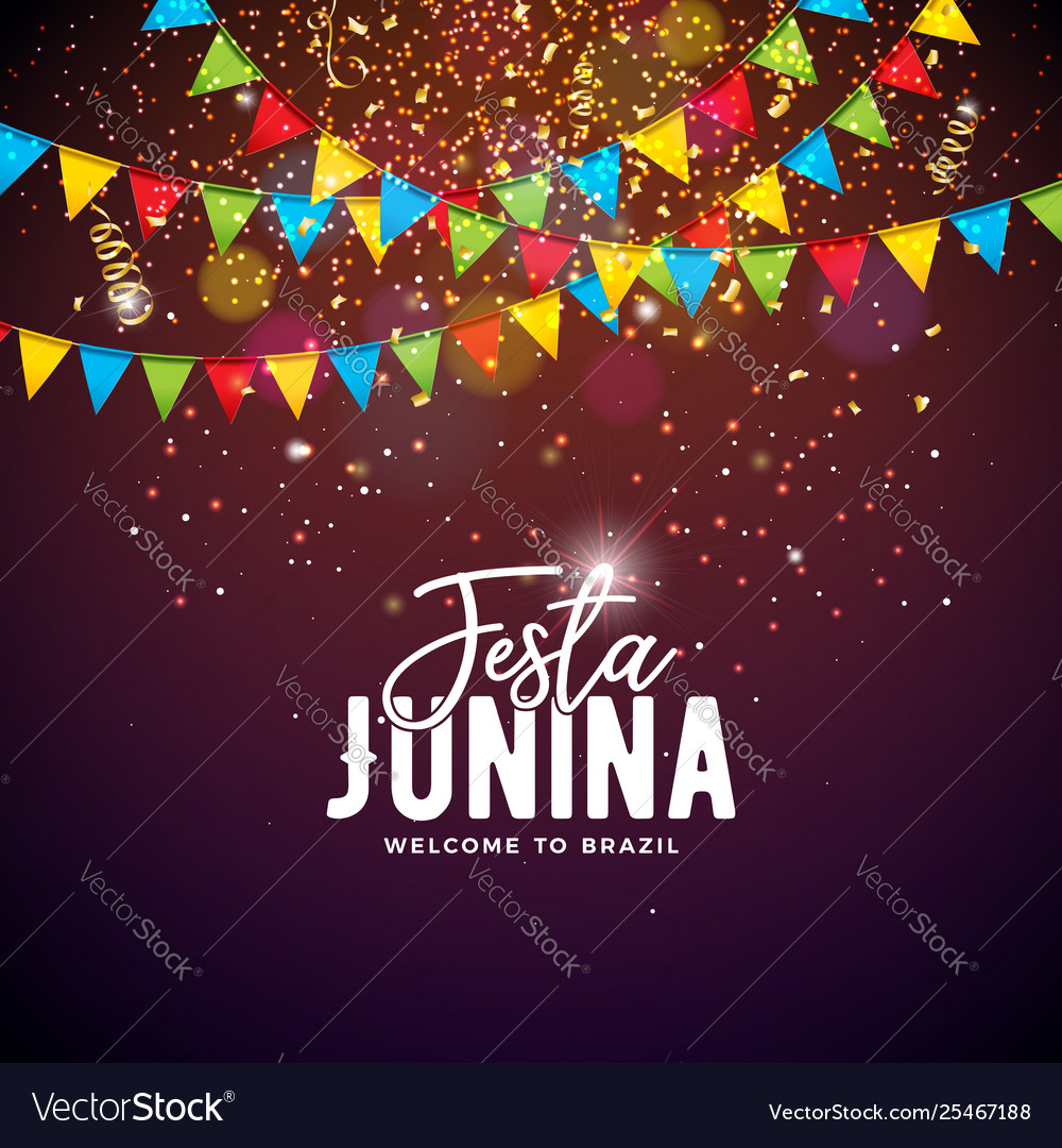 Festa junina with party flags