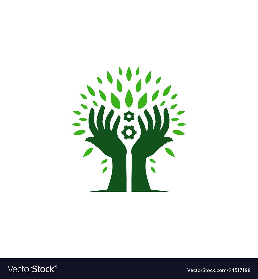 Hand tree engineering gear leaf leaves logo icon