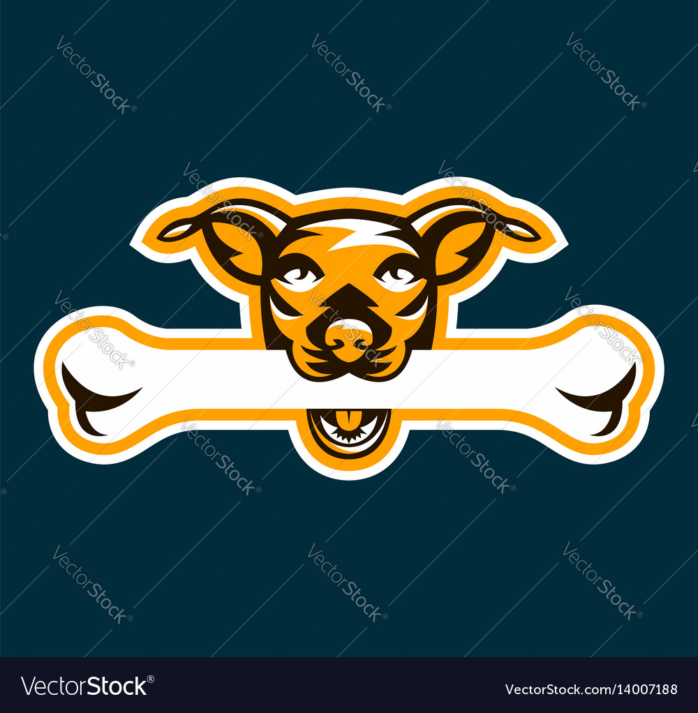 Logo dog holding bone in his teeth pet pedigreed vector image