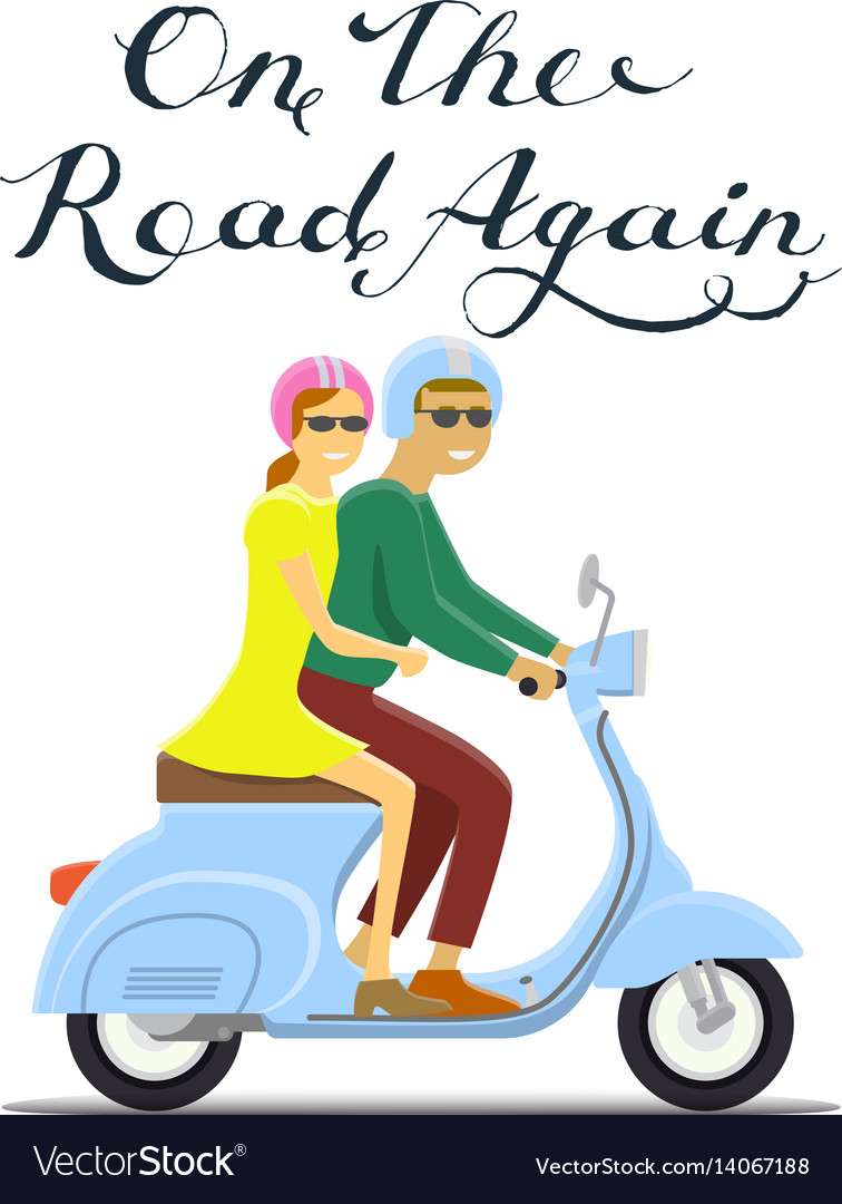 Man and woman riding on the motorbike on the road