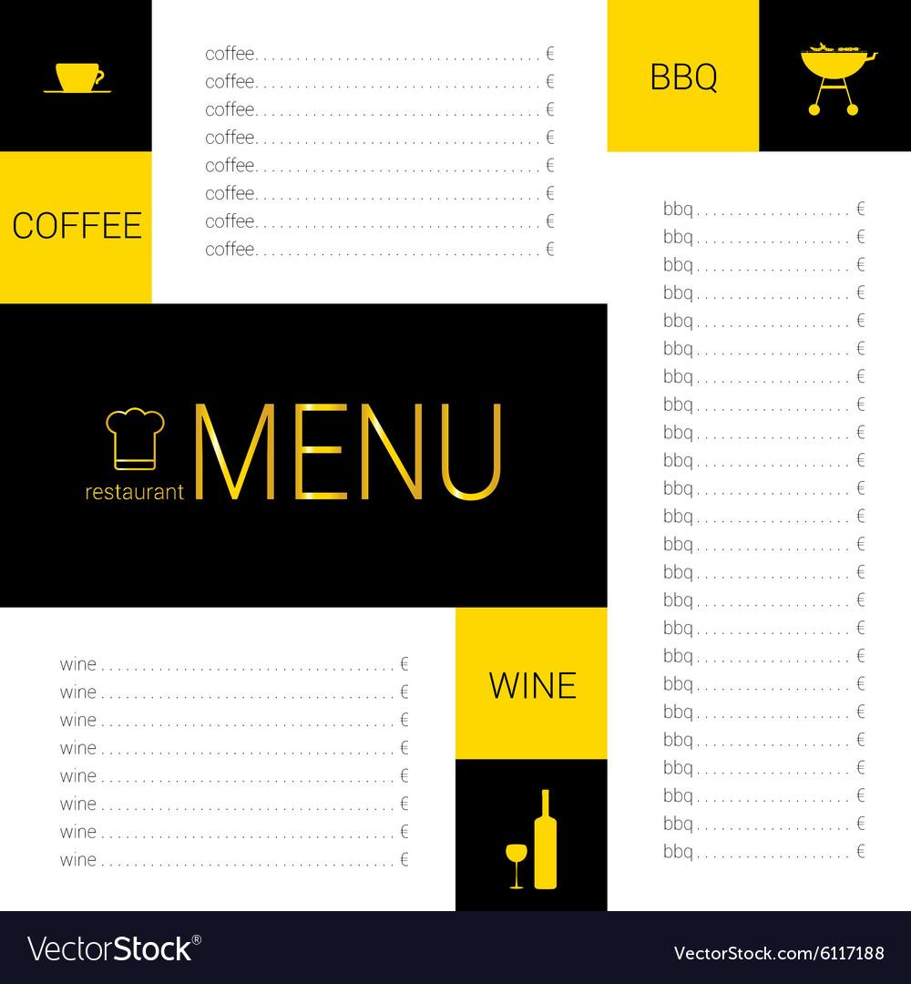 Menu restaurant color vector image