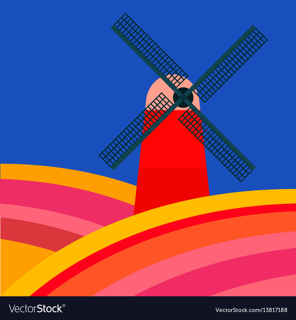 Mill with tulipan fields on a blue background