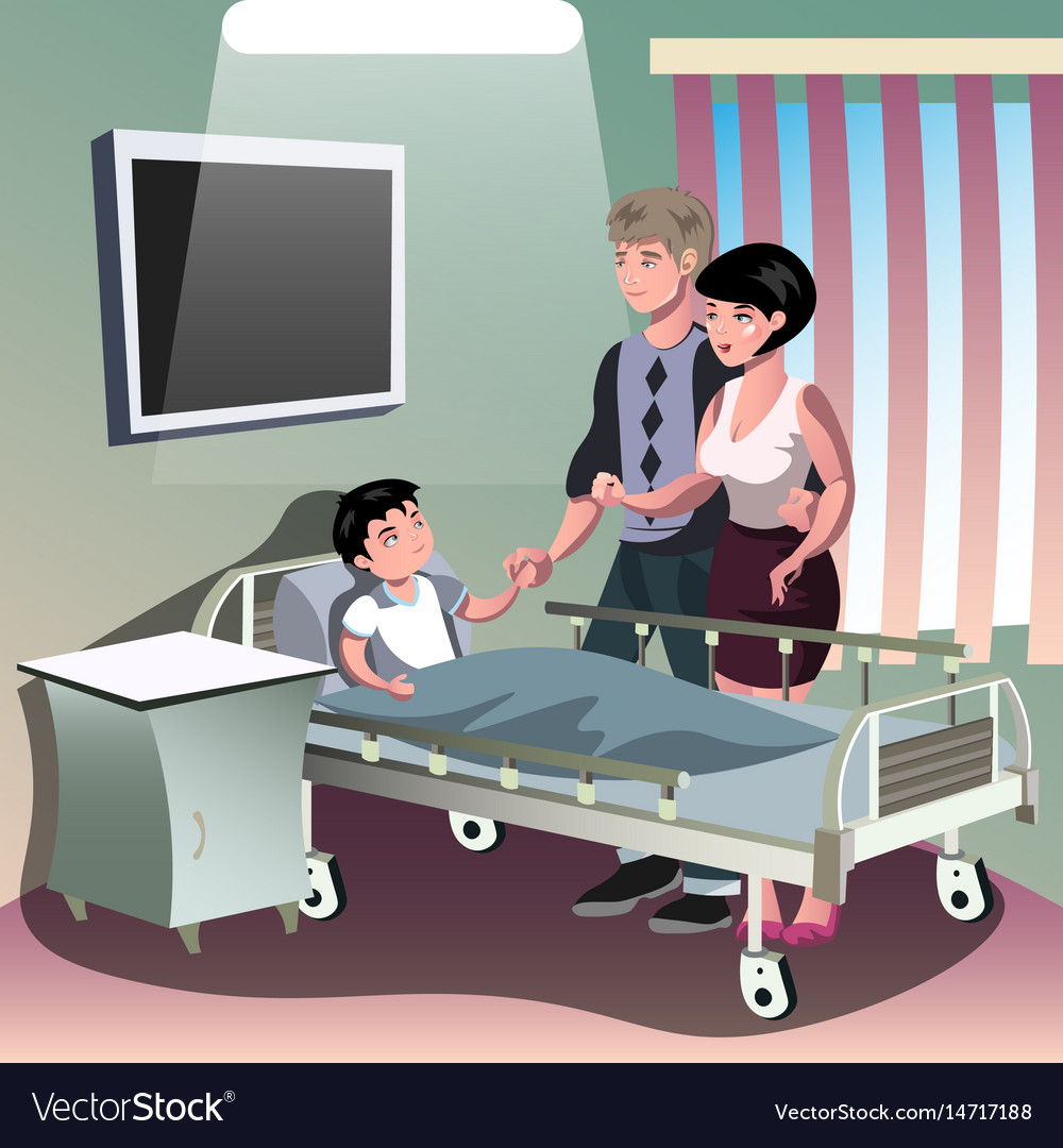 Parents with sick boy lying in a medical bed